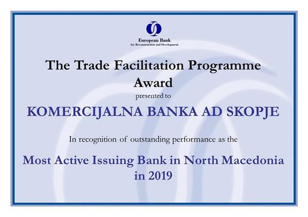 "Комерцијална банка добитник на наградата ""Most Active Issuing Bank in 2019 in North Macedonia"""